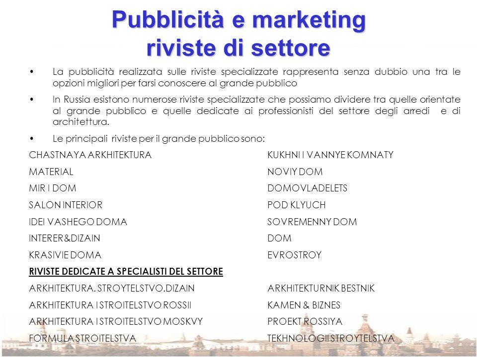 Pubblicità e marketing riviste di settore