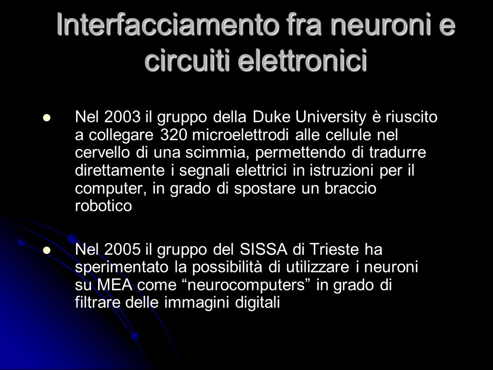 Interfacciamento fra neuroni e circuiti elettronici