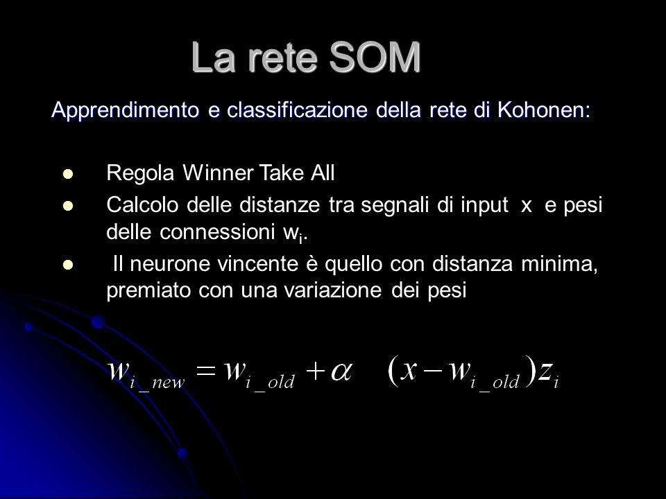 La rete SOM Apprendimento e classificazione della rete di Kohonen: