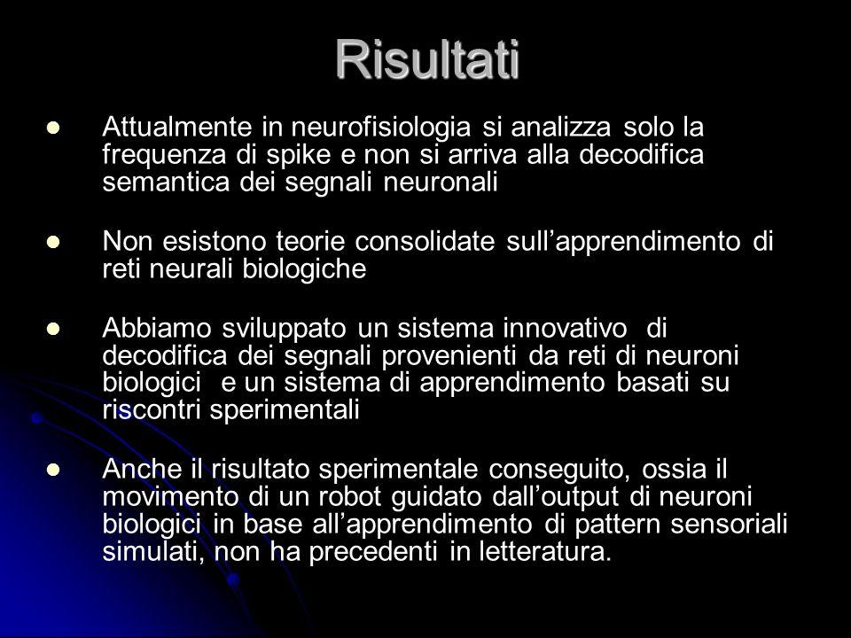 Risultati Attualmente in neurofisiologia si analizza solo la frequenza di spike e non si arriva alla decodifica semantica dei segnali neuronali.