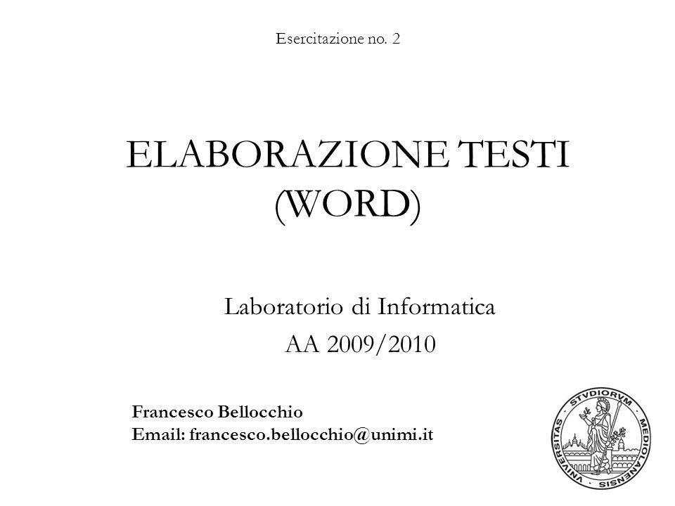 ELABORAZIONE TESTI (WORD)