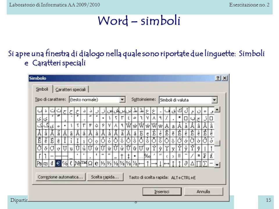 Word – simboli Si apre una finestra di dialogo nella quale sono riportate due linguette: Simboli e Caratteri speciali.