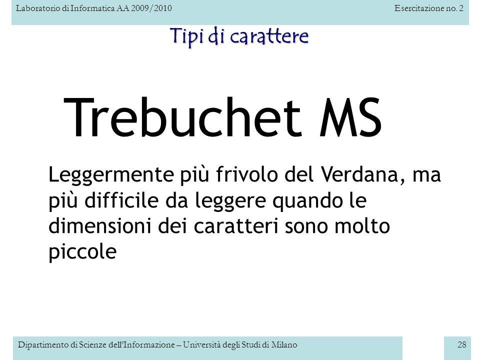Trebuchet MS Tipi di carattere
