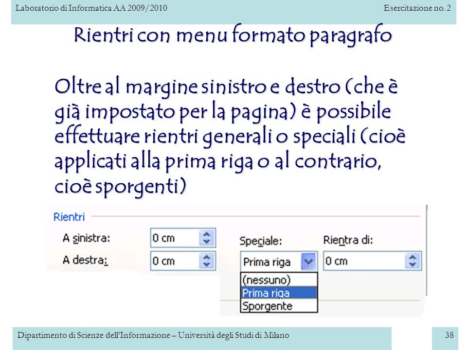 Rientri con menu formato paragrafo