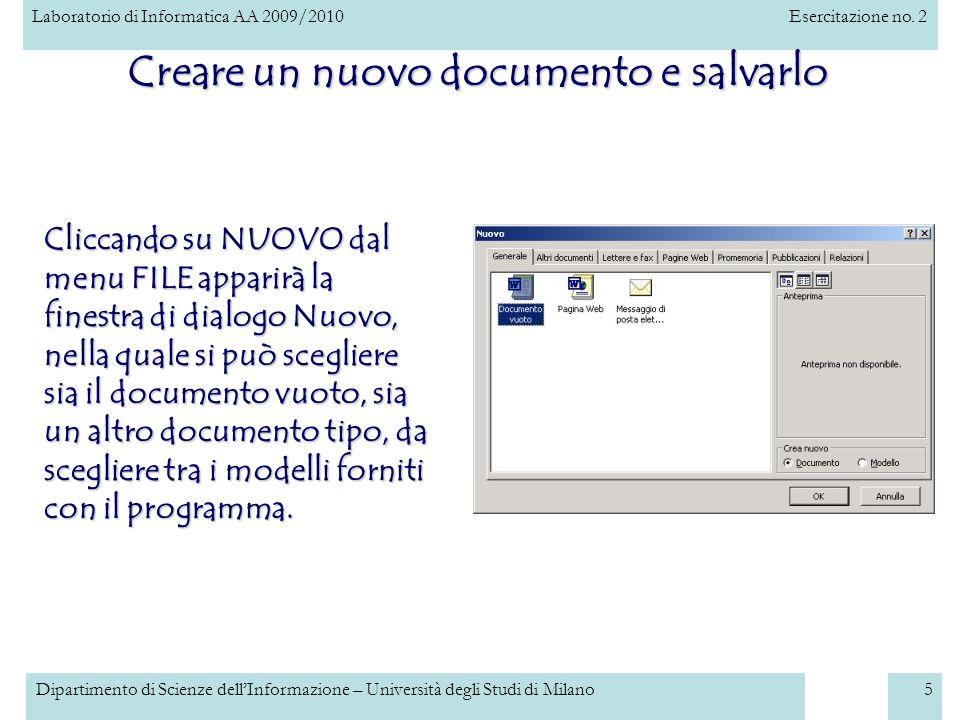 Creare un nuovo documento e salvarlo