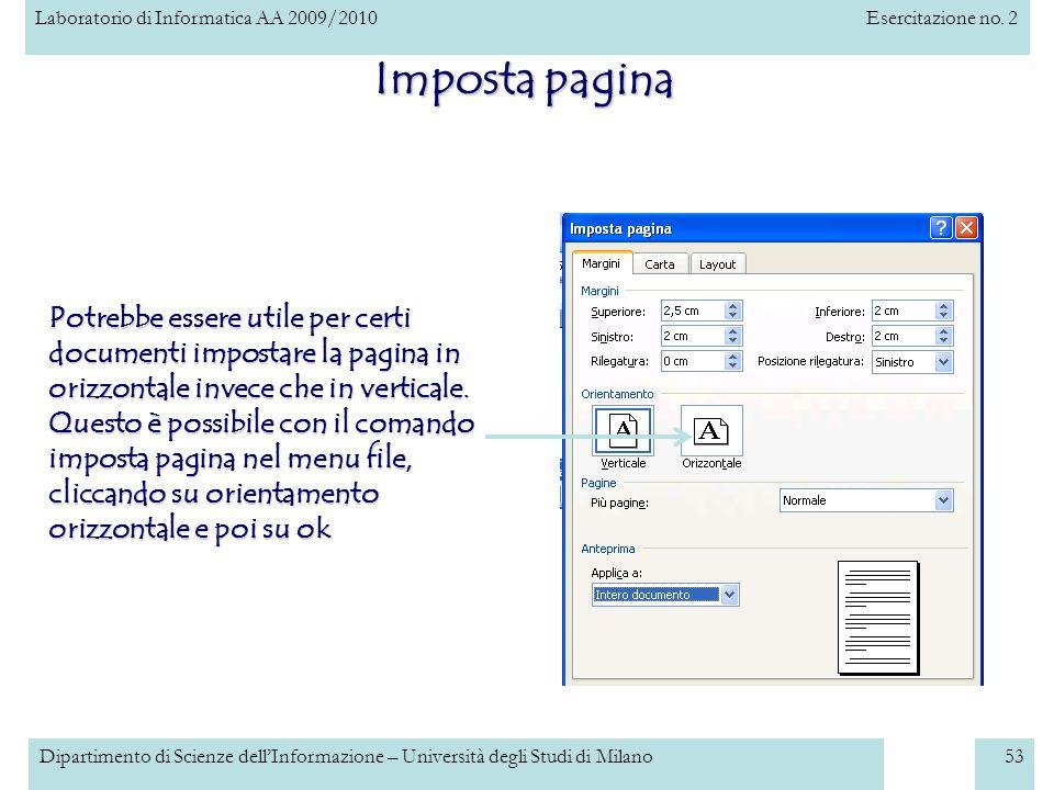 Imposta pagina