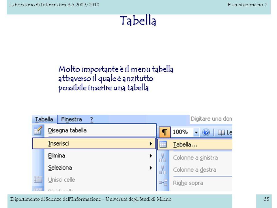 Tabella Molto importante è il menu tabella attraverso il quale è anzitutto possibile inserire una tabella.