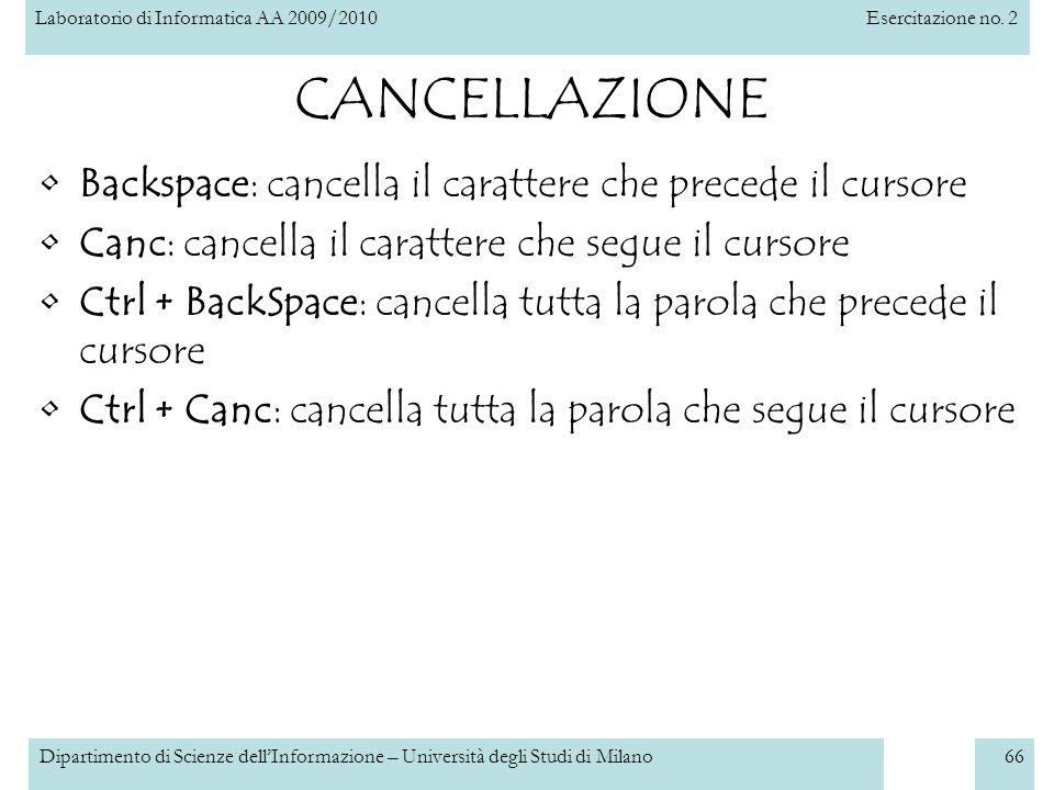 CANCELLAZIONE Backspace: cancella il carattere che precede il cursore