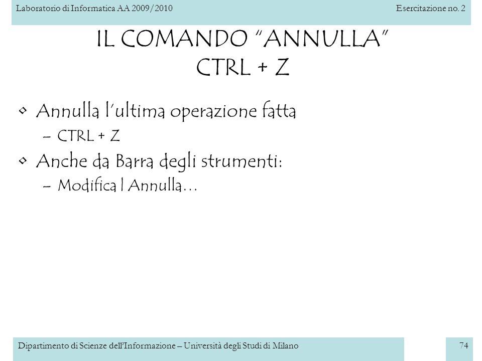 IL COMANDO ANNULLA CTRL + Z