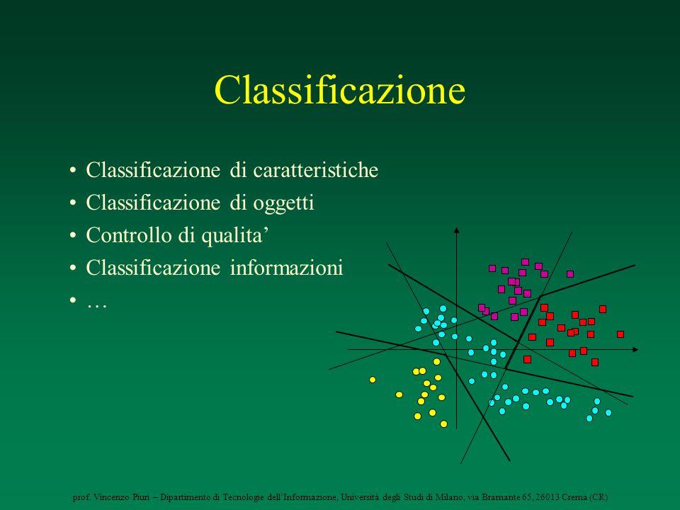 Classificazione Classificazione di caratteristiche