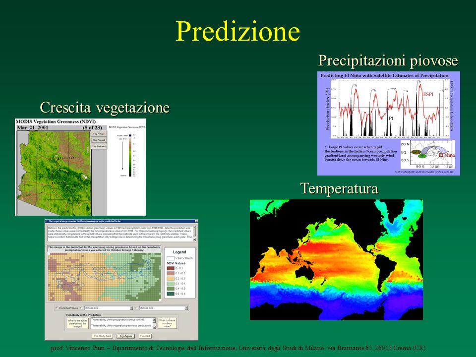Predizione Precipitazioni piovose Crescita vegetazione Temperatura