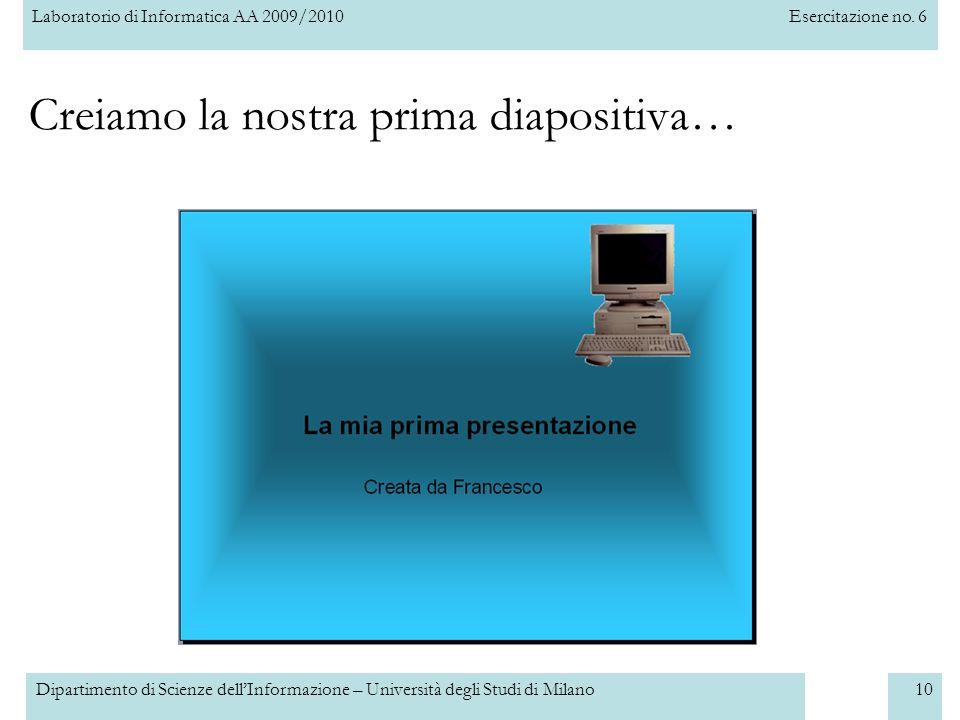 Creiamo la nostra prima diapositiva…