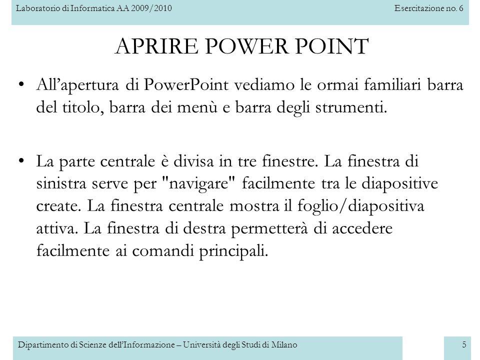 APRIRE POWER POINT All'apertura di PowerPoint vediamo le ormai familiari barra del titolo, barra dei menù e barra degli strumenti.