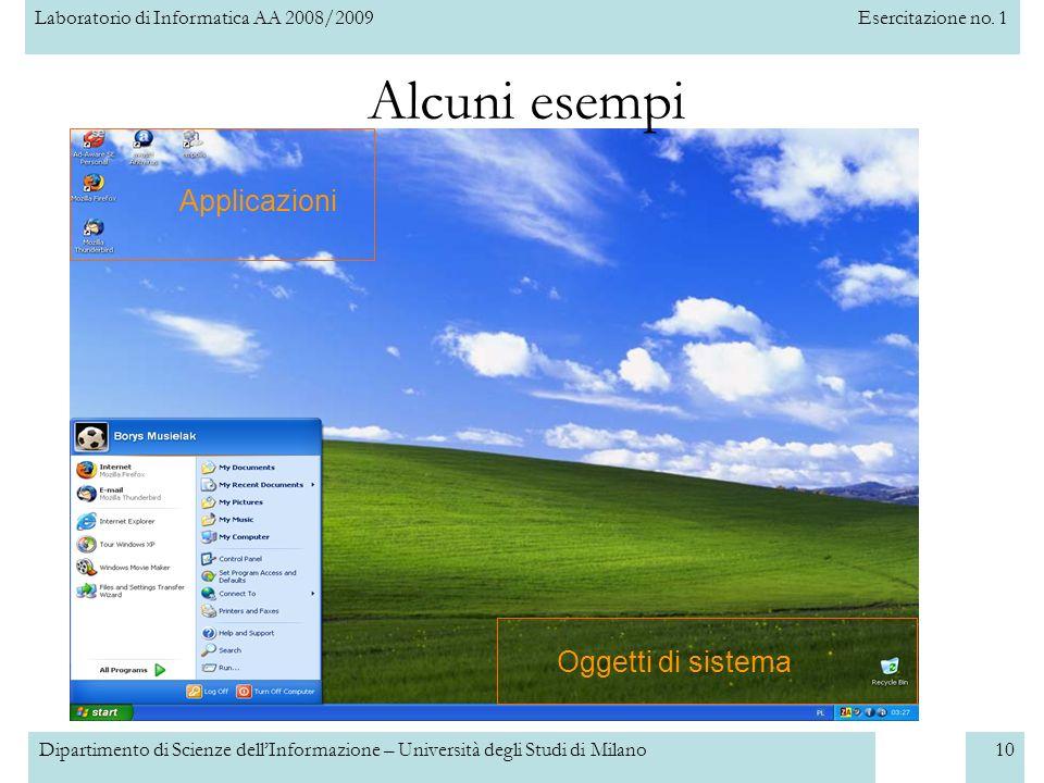 Alcuni esempi Applicazioni Oggetti di sistema