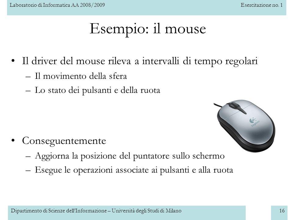 Esempio: il mouse Il driver del mouse rileva a intervalli di tempo regolari. Il movimento della sfera.