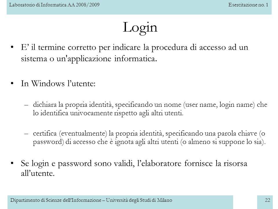 Login E' il termine corretto per indicare la procedura di accesso ad un sistema o un applicazione informatica.