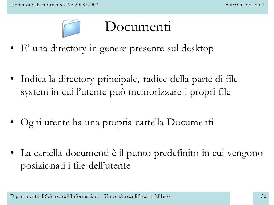 Documenti E' una directory in genere presente sul desktop
