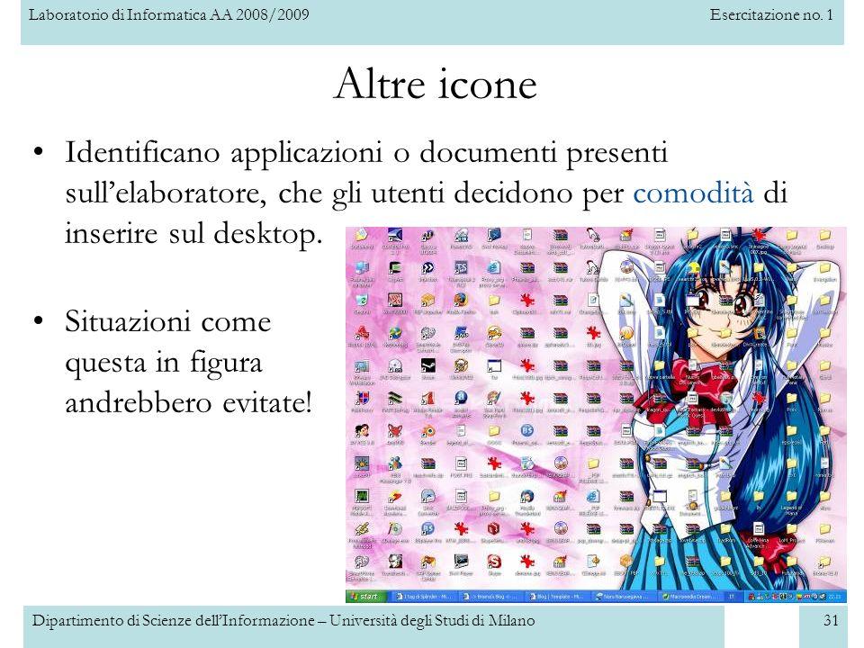 Altre icone Identificano applicazioni o documenti presenti sull'elaboratore, che gli utenti decidono per comodità di inserire sul desktop.