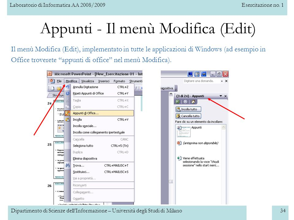 Appunti - Il menù Modifica (Edit)