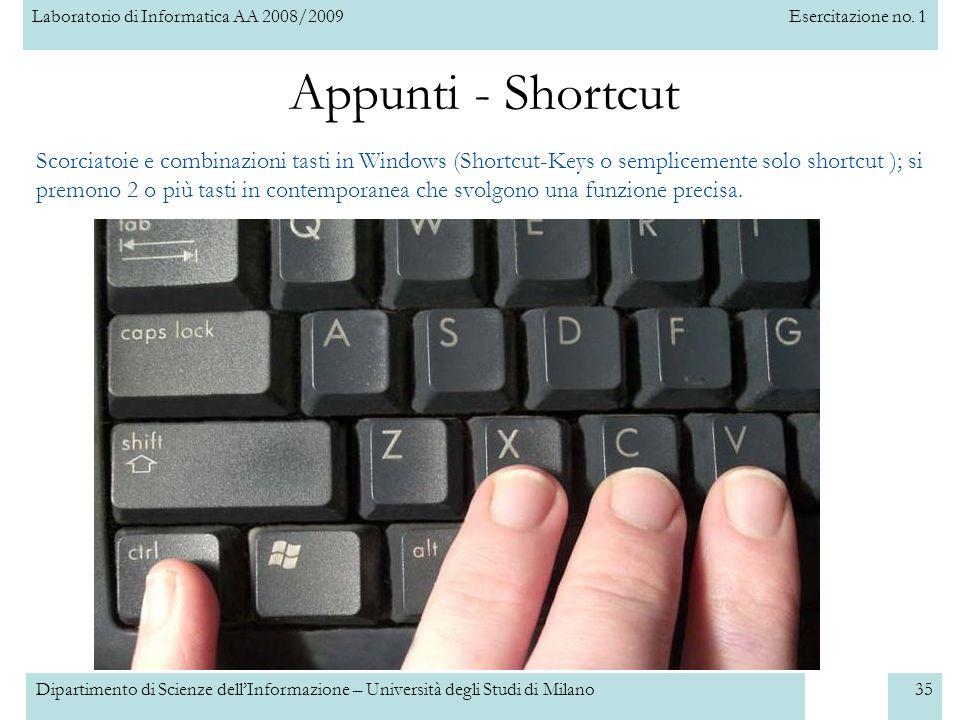 Appunti - Shortcut Scorciatoie e combinazioni tasti in Windows (Shortcut-Keys o semplicemente solo shortcut ); si.
