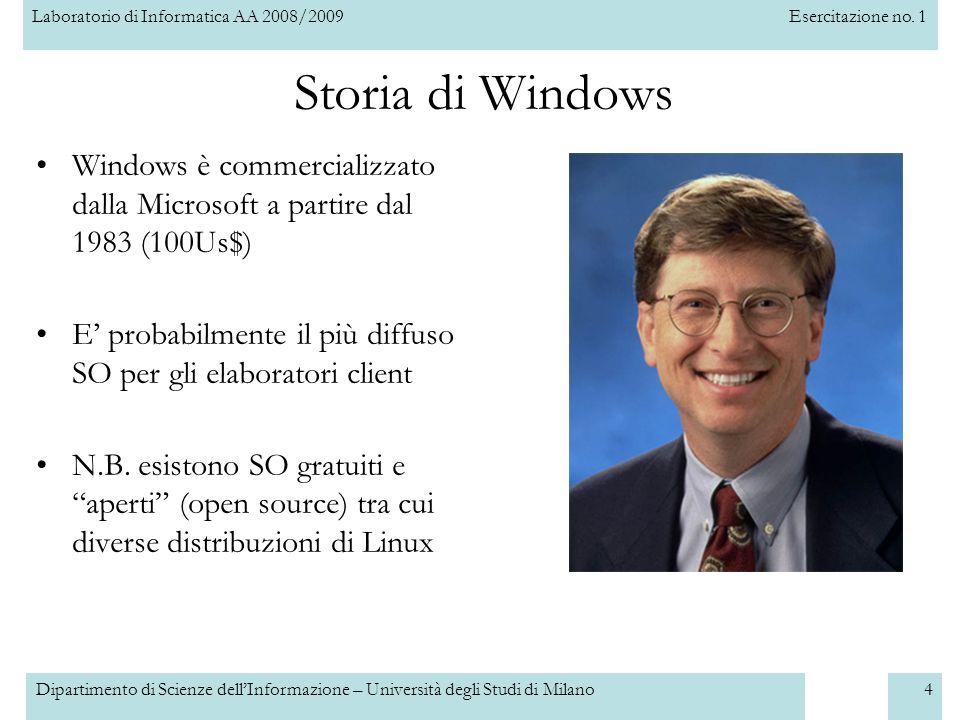 Storia di Windows Windows è commercializzato dalla Microsoft a partire dal 1983 (100Us$)