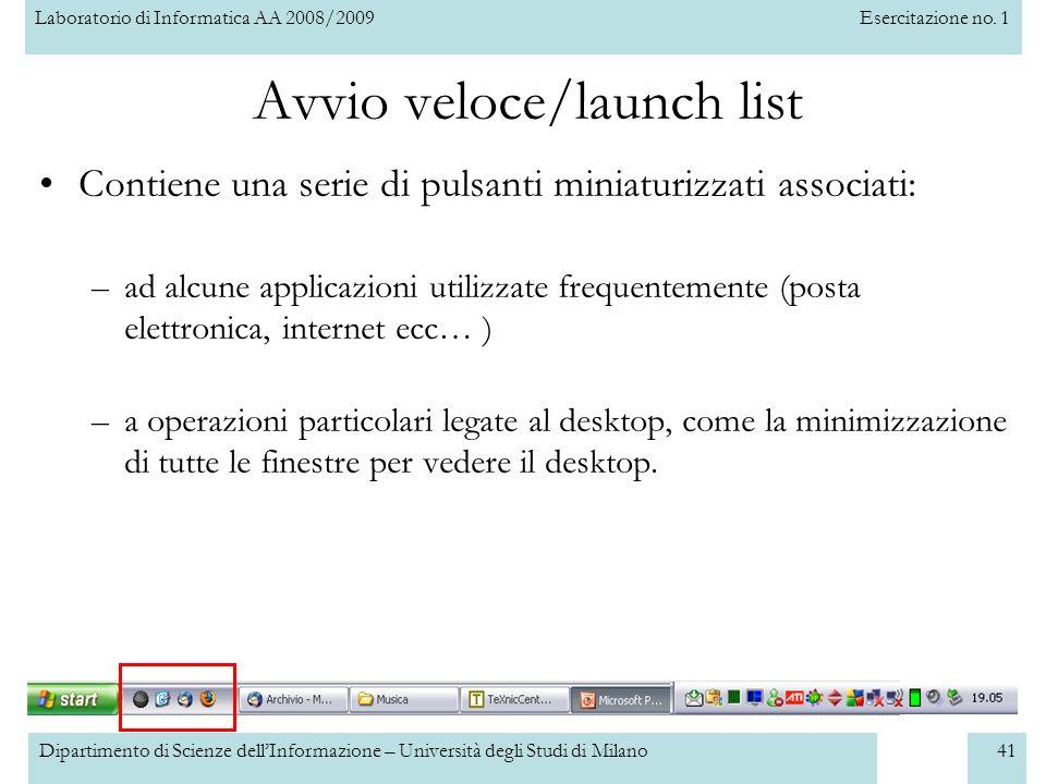 Avvio veloce/launch list