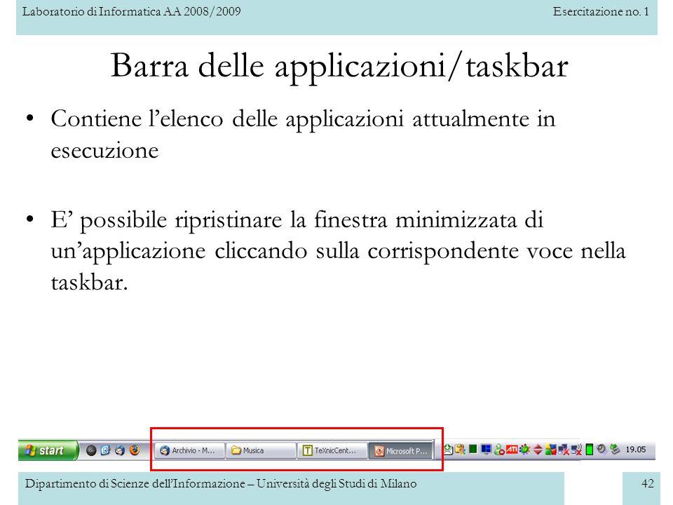 Barra delle applicazioni/taskbar