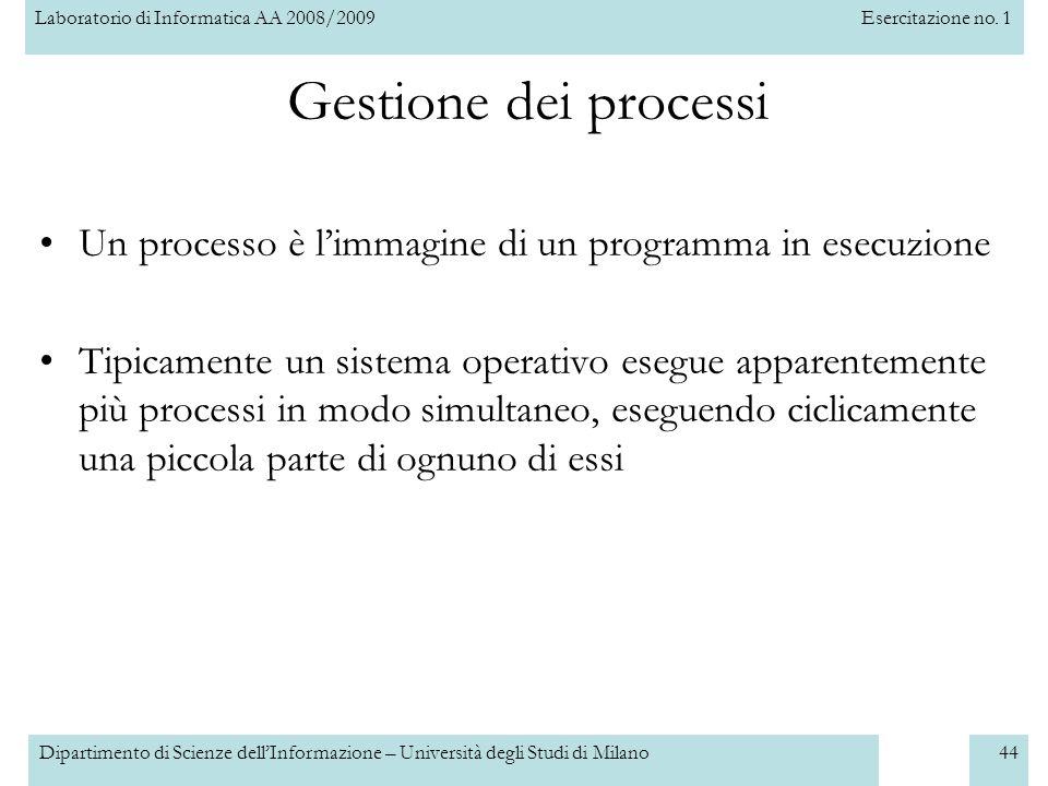 Gestione dei processi Un processo è l'immagine di un programma in esecuzione.