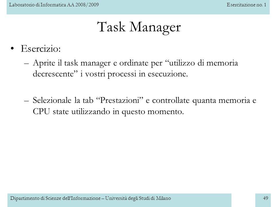 Task Manager Esercizio: