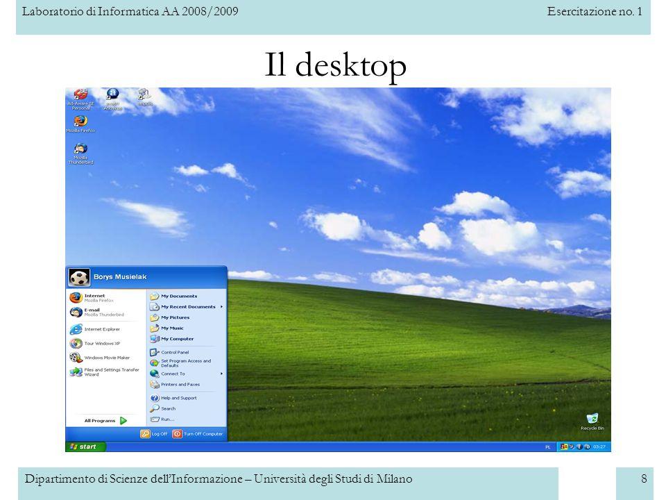 Il desktop Dipartimento di Scienze dell'Informazione – Università degli Studi di Milano