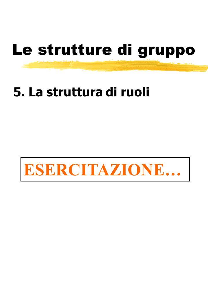 Le strutture di gruppo 5. La struttura di ruoli ESERCITAZIONE…