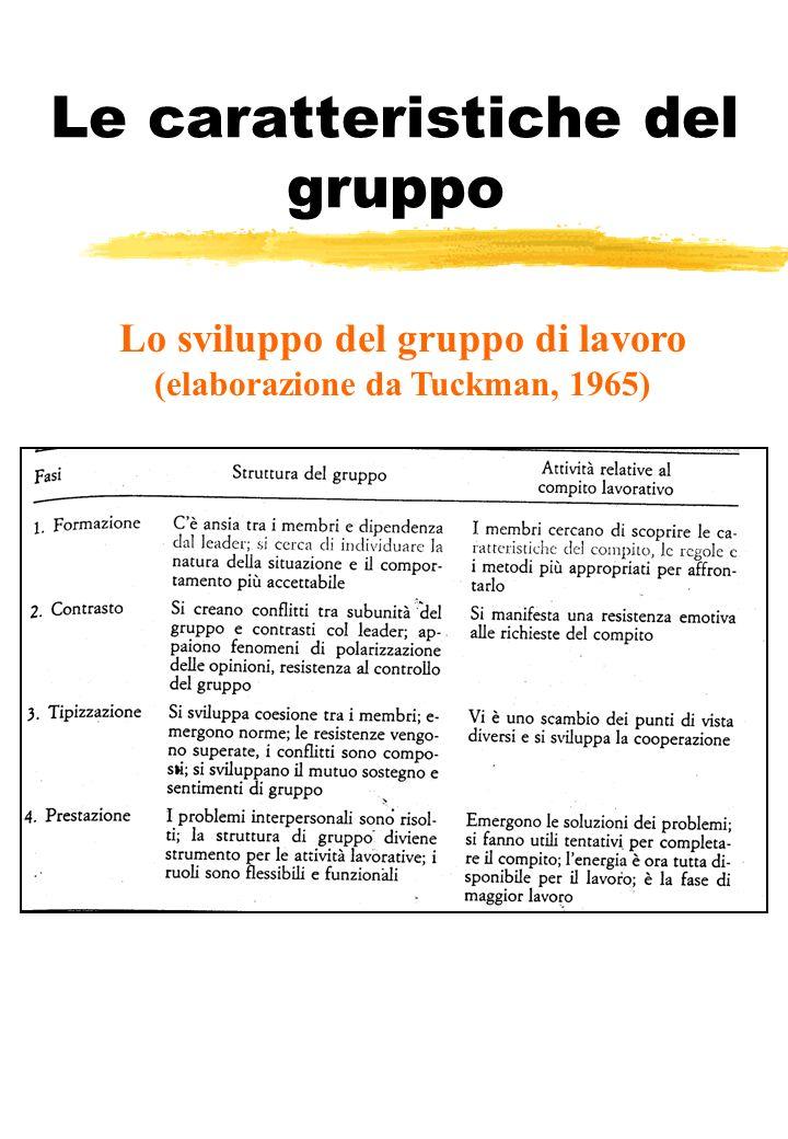 Le caratteristiche del gruppo