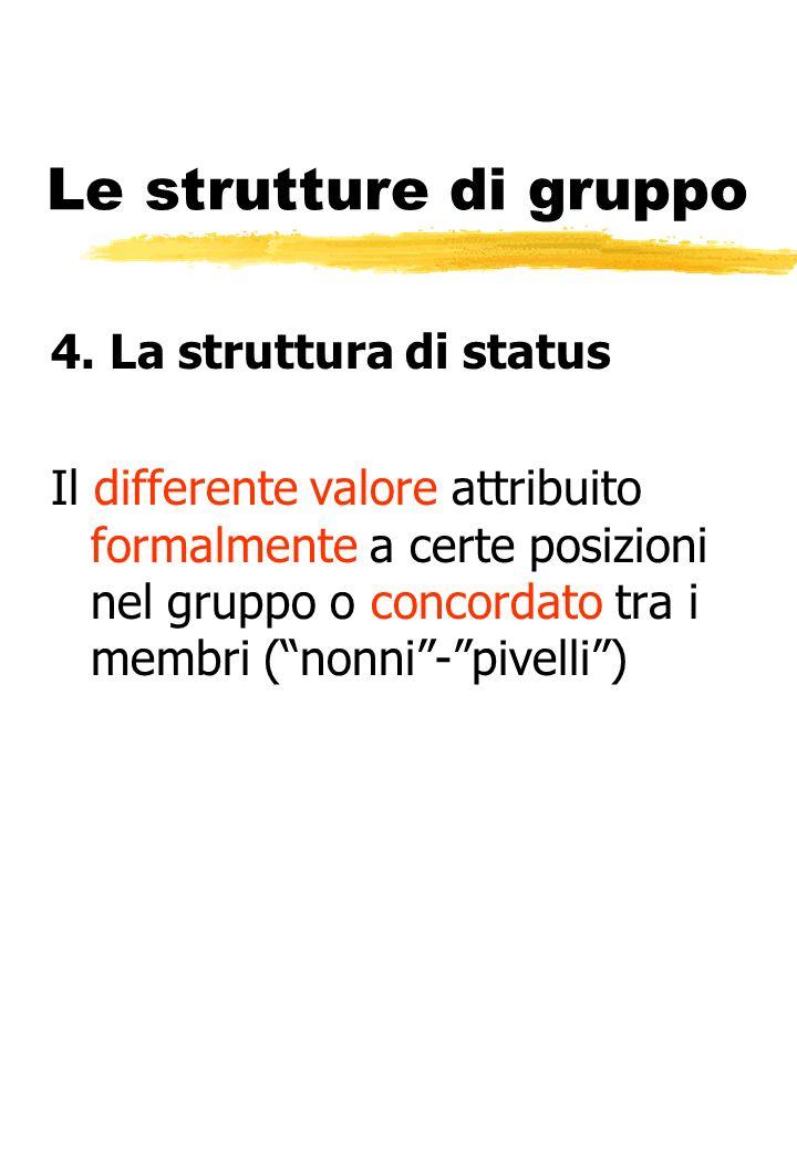 Le strutture di gruppo 4. La struttura di status