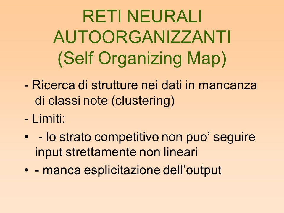 RETI NEURALI AUTOORGANIZZANTI (Self Organizing Map)