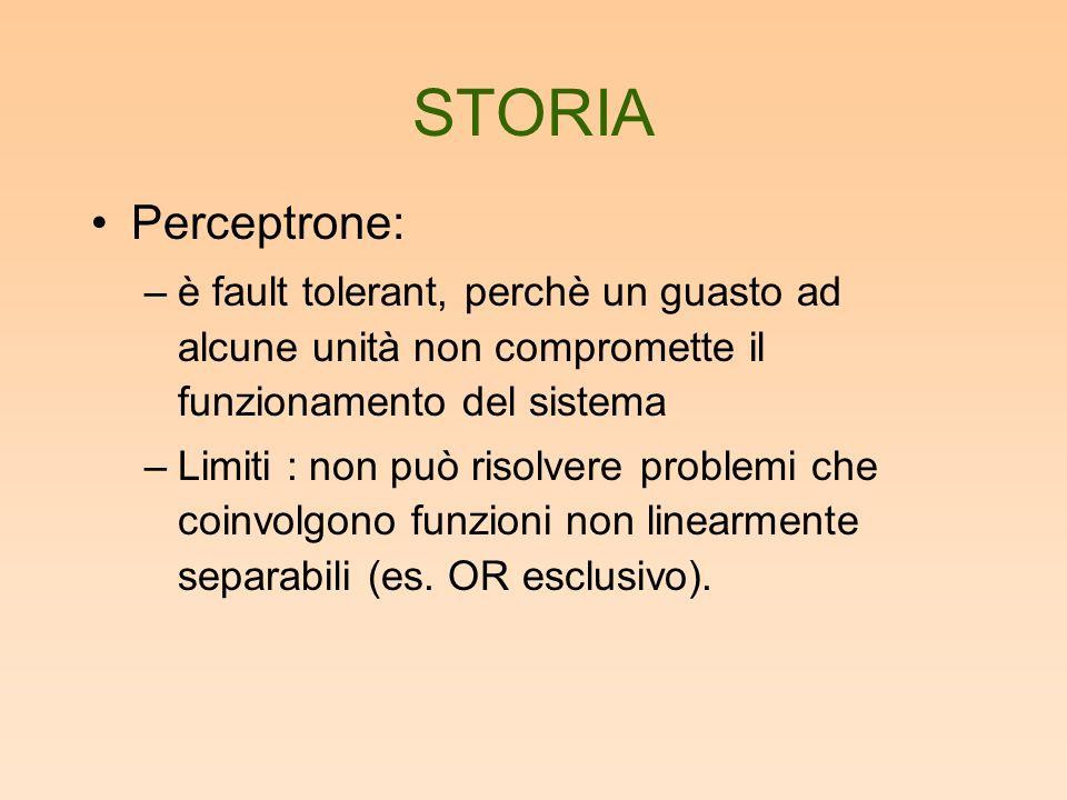 STORIA Perceptrone: è fault tolerant, perchè un guasto ad alcune unità non compromette il funzionamento del sistema.