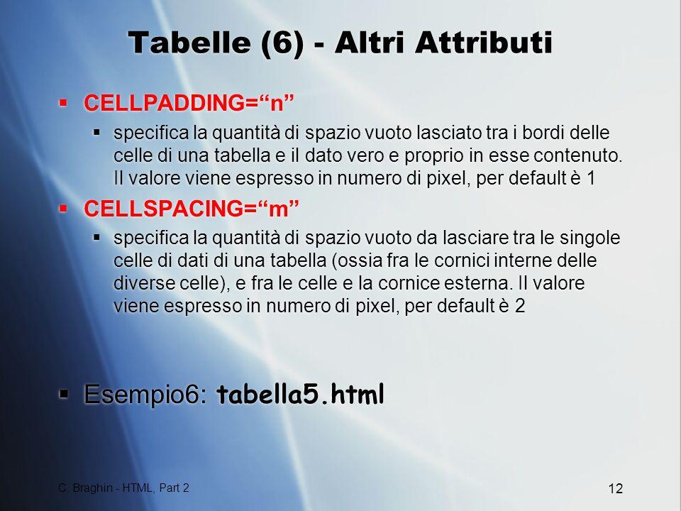 Tabelle (6) - Altri Attributi