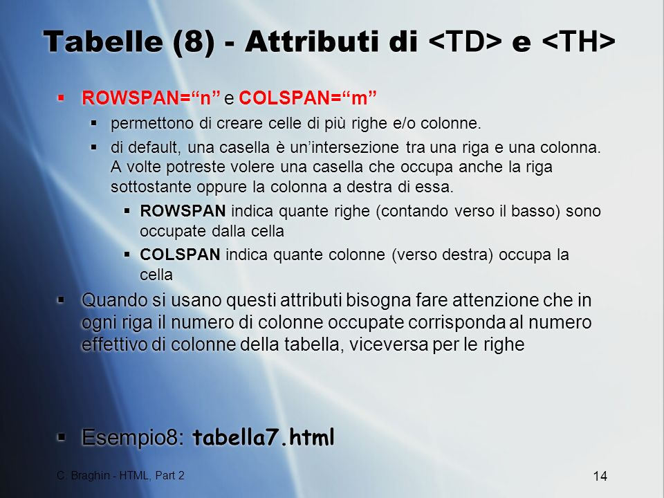 Tabelle (8) - Attributi di <TD> e <TH>