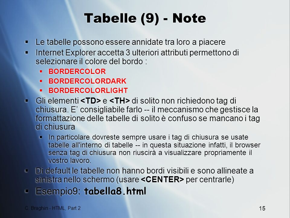 Tabelle (9) - Note Esempio9: tabella8.html