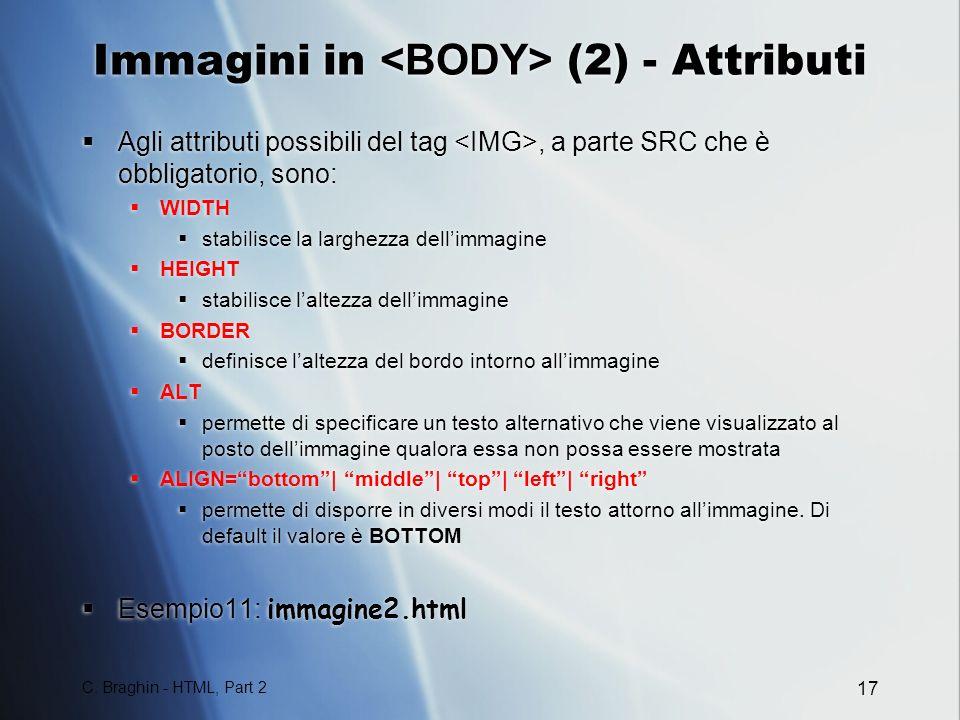 Immagini in <BODY> (2) - Attributi