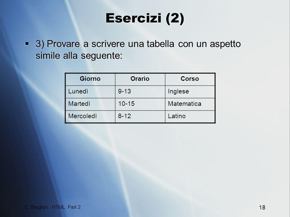 Esercizi (2) 3) Provare a scrivere una tabella con un aspetto simile alla seguente: Giorno. Orario.