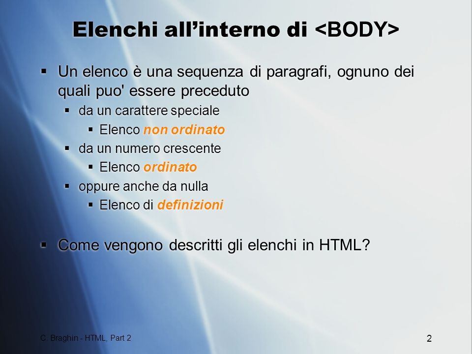 Elenchi all'interno di <BODY>