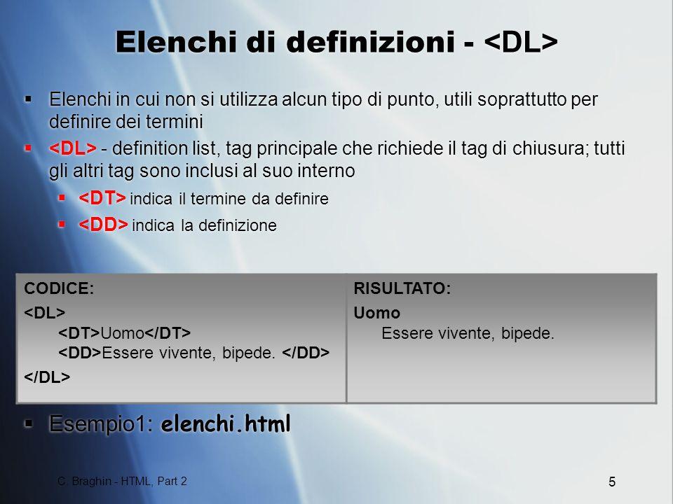 Elenchi di definizioni - <DL>