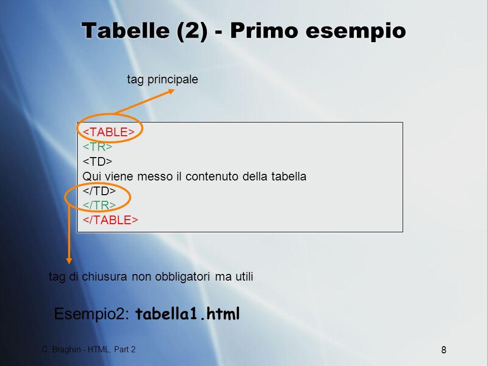 Tabelle (2) - Primo esempio