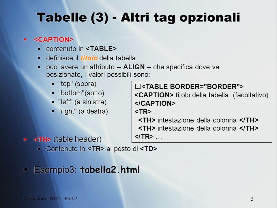 Tabelle (3) - Altri tag opzionali