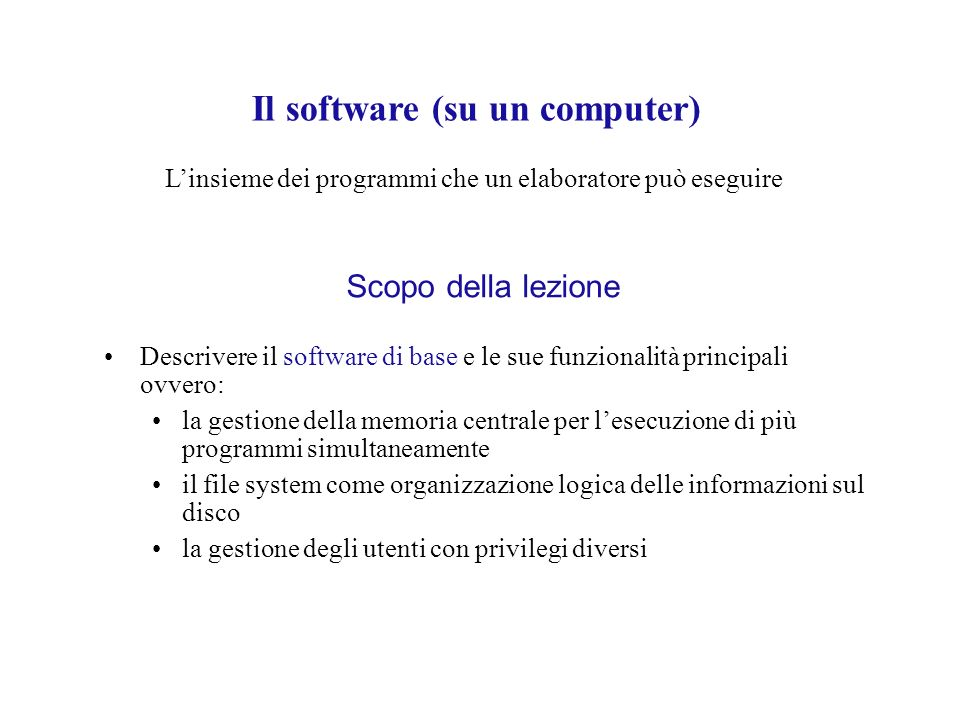 Il software (su un computer)