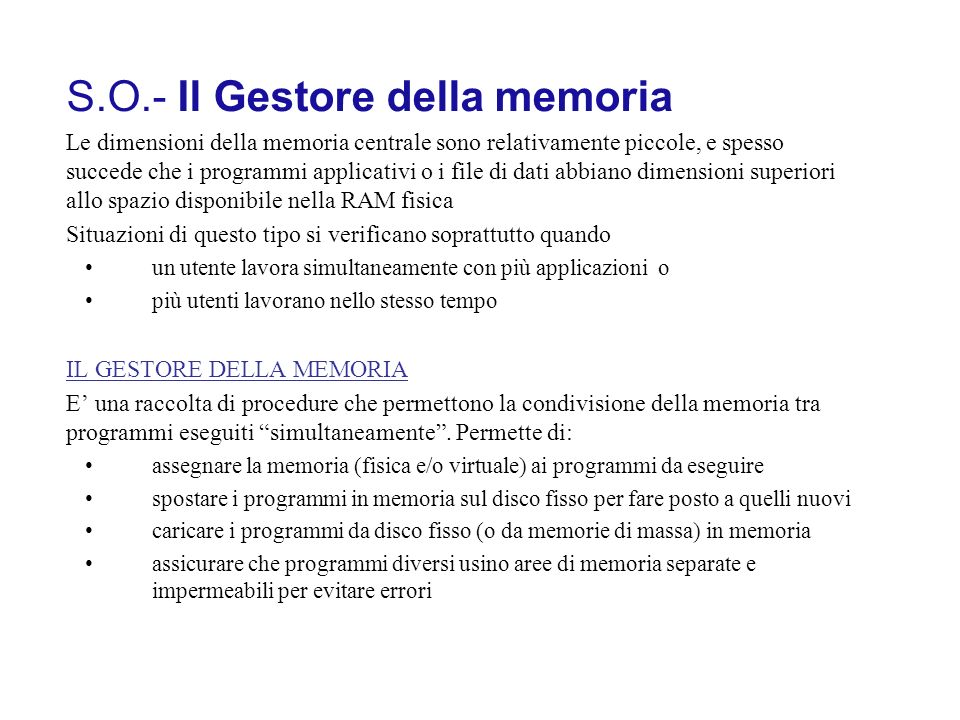 S.O.- Il Gestore della memoria