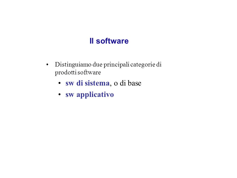 Il software sw di sistema, o di base sw applicativo
