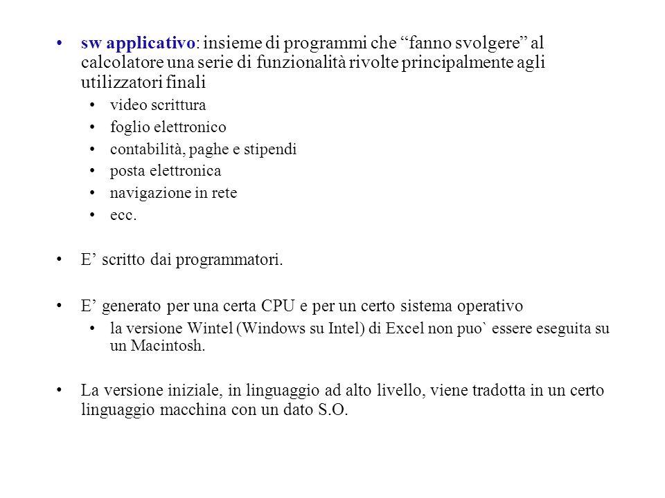 sw applicativo: insieme di programmi che fanno svolgere al calcolatore una serie di funzionalità rivolte principalmente agli utilizzatori finali