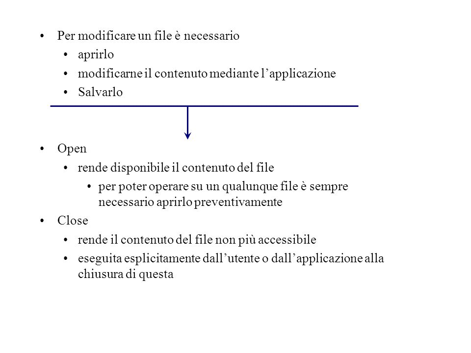 Per modificare un file è necessario