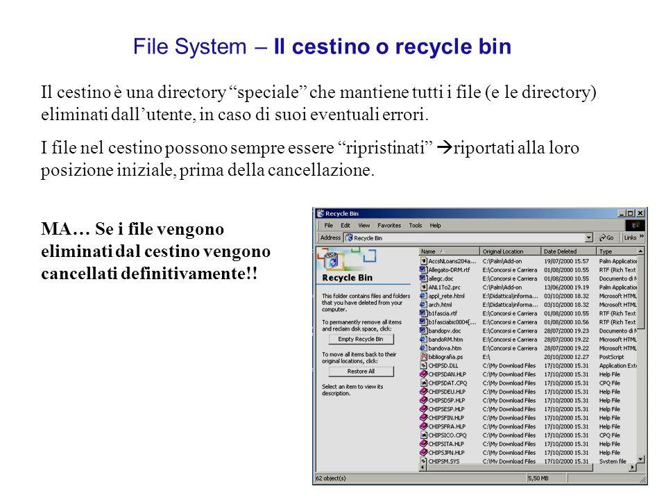 File System – Il cestino o recycle bin